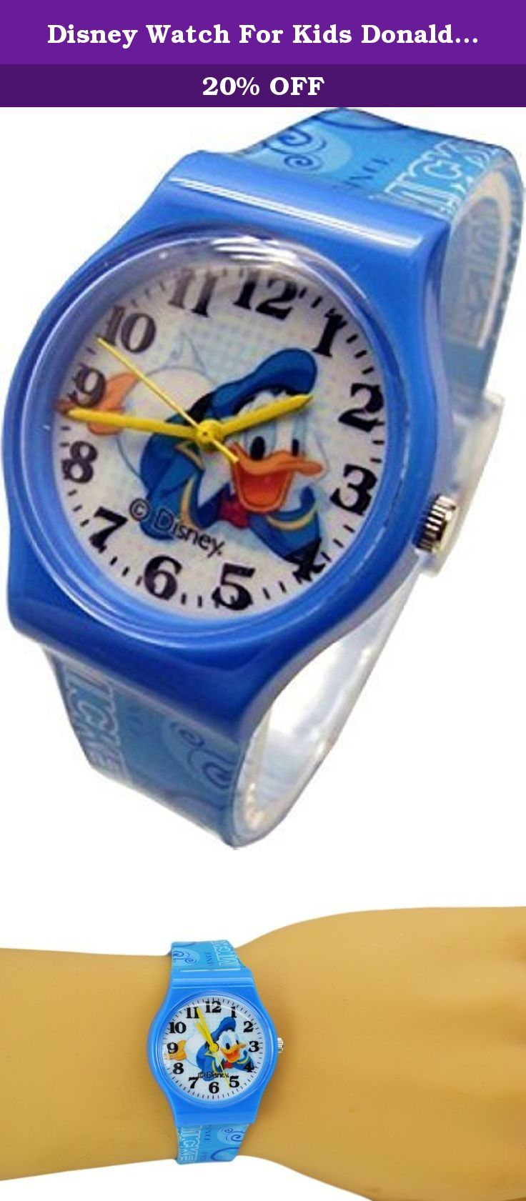 "Disney Watch For Kids Donald Duck..Large Analog Dial. 9""L Band. Disney Watch For Kids Donald Duck.Large Analog Dial. 9""L Band. WITHSTANDS RAIN AND SPLASHES OF WATER BUT NOT SHOWERING OR SUBMERSION."