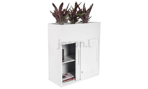 Office Planter Box for Tambour Filing Cabinets White 500D. This waterproof planter box can be added to all JasonL cabinets as a fresh dimension to your workplace. The planter box is built with white melamine and is designed to hold up to three pot plants. Add some planter boxes to your workplace to give it a green and natural vibe.