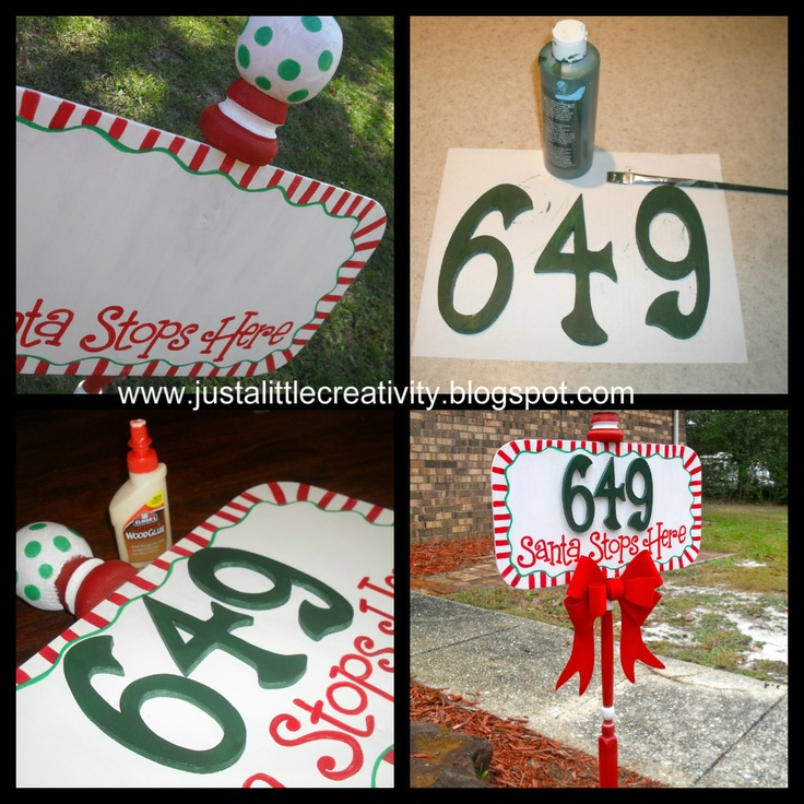 Just a little Creativity: Santa Stops Here- Address Street Sign DIY