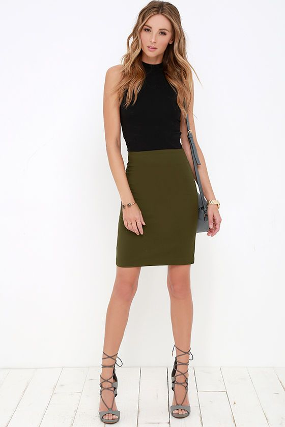 Sophisticated Style Olive Green Pencil Skirt at Lulus.com!
