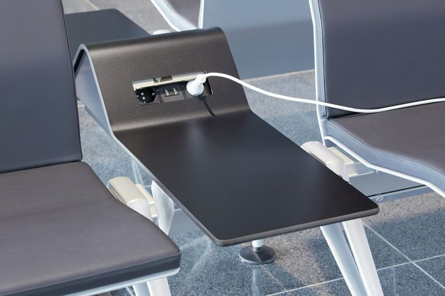 Power stations at the airport in Frankfurt that is partly equipped with Vitra furniture.
