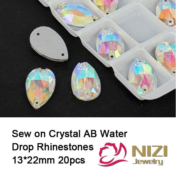 Crystal AB Rhinestones 13x22mm Flatback Glass Water Drop Rhinestone Sew On Strass For Bridal Dress Sewing Rhinestones #Affiliate