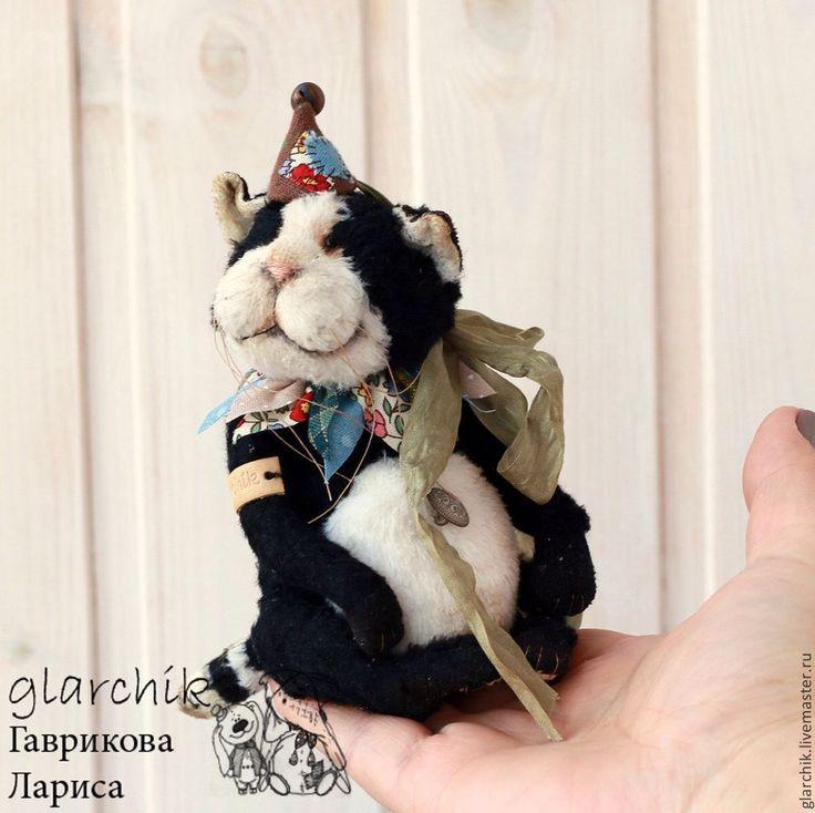 Котейка Мосто - черный,белый,черный кот,кот,кошка,авторская игрушка,коллекционная игрушка