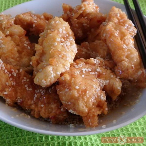 Csirke tempura szezámos-mézes mázban