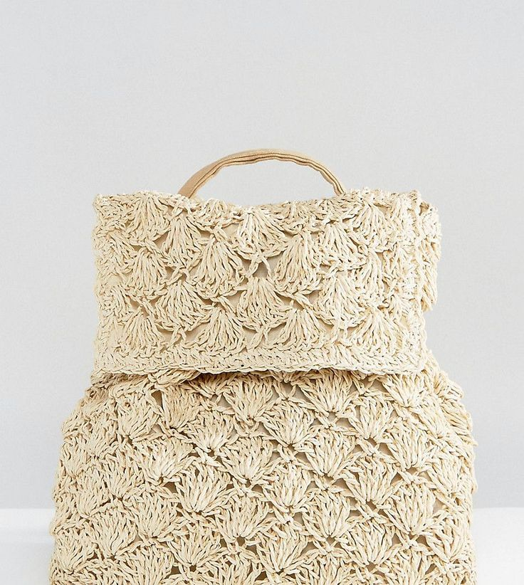 Reclaimed Vintage Inspired Drawstring Straw Backpack - Beige
