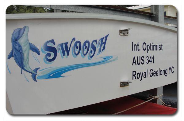 "Opti Wrap, Optimist Sailing Dinghy Graphic for ""Swoosh"" by BoatNames Australia.  www.boatnames.com.au"