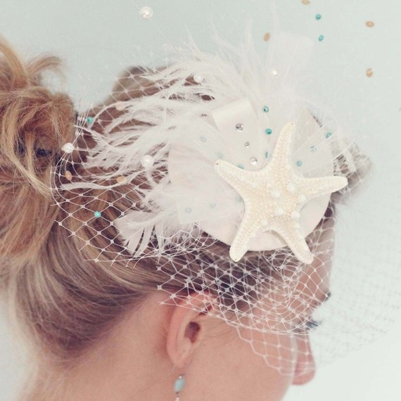 Beach Wedding Bridal White Birdcage Blusher Veil..I just want to make this veil.