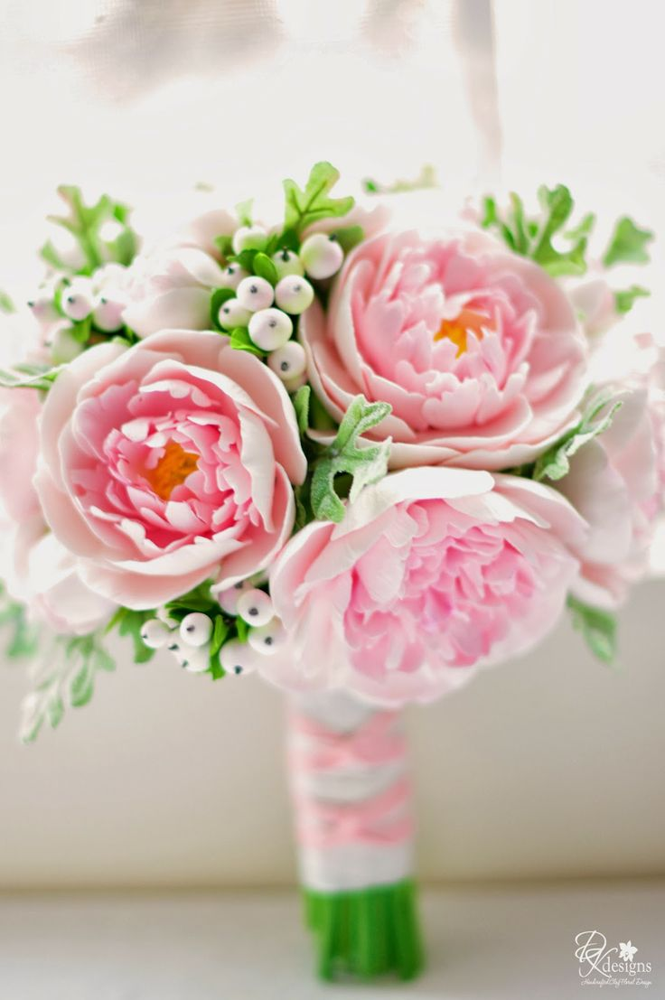DK Designs - pink peony, snow berry and Dusty Miller bridal bouquet.