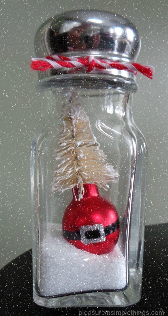 Santa ornament  salt shaker 'snow globe' by pleasure in simple things blog