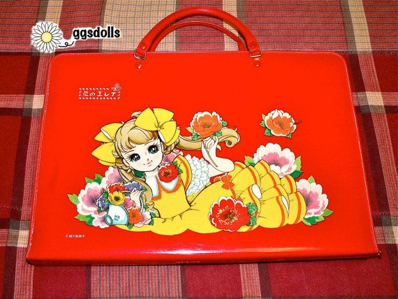 Vintage Japan 60s Retro Girl Anime by Chieko Hosokawa Shoujo Manga Art Sketch Bag in Red Mint