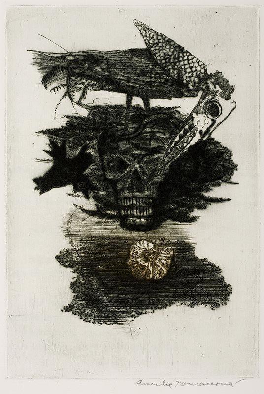 """Emílie Tomanová, """"Opilý koráb"""", kompletní soubor pěti suchých jehel k básni A. Rimbauda, 1975"""