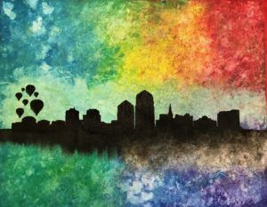 """Join us November 30, 2017 for Paint and Sip at Red Door Brewery in Downtown Albuquerque! Enjoy local craft beer while you paint the """"ABQ Skyline"""" with us!"""