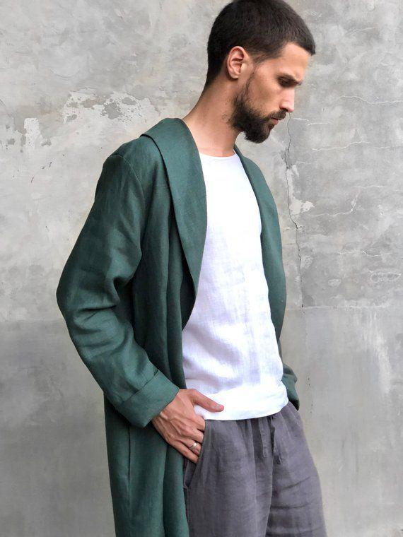 linen cardigan linen bathrobe Bottle green mens robe linen kimono