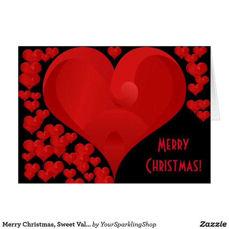 Merry Christmas, Sweet Valentine Love Hearts Red Card #christmas #JustSold #ThankYou :)