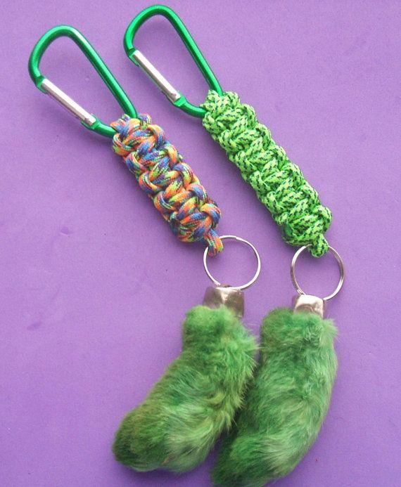 Green Rabbit Foot Key Ring. Real rabbit foot lucky key chain. Paracord key  fob 0d3e0c8a17be