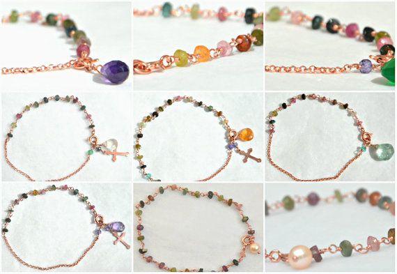 Handmade beaded charm bracelet, charm bracelet, tourmaline bracelet, colorful bracelet, cross charm bracelet, chain bracelet, beaded bracelet