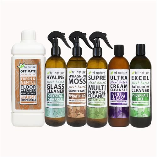 Almost the entire Tri Nature cleaning range in a single pack! Get rid of the toxic chemicals in your home and replace them with plant and mineral based products made without toxic ingredients. Includes floor cleaner, glass cleaner, disinfectant, multipurpose cleaner, cream cleanser and bathroom cleaner. #nontoxic #plantbased #australianmade #natural  #trinature #naturallygoode