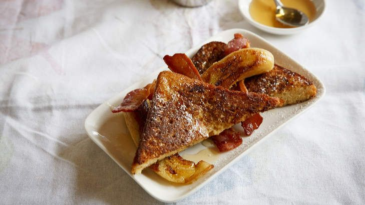 Bacon makes better: French toast with maple bananas and crispy bacon from Frank Camorra.