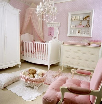 i love white & pink nurseries. the chandelier adds the perfect touch of elegance. :) love it.