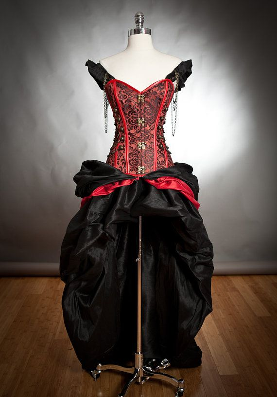 Black and Red Steampunk Burlesque corset with train prom dress