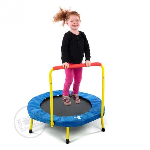 This folding trampoline opens and closes easily and supports up to 150 lbs. Great for classrooms, home, traveling therapists and kids who need to move.