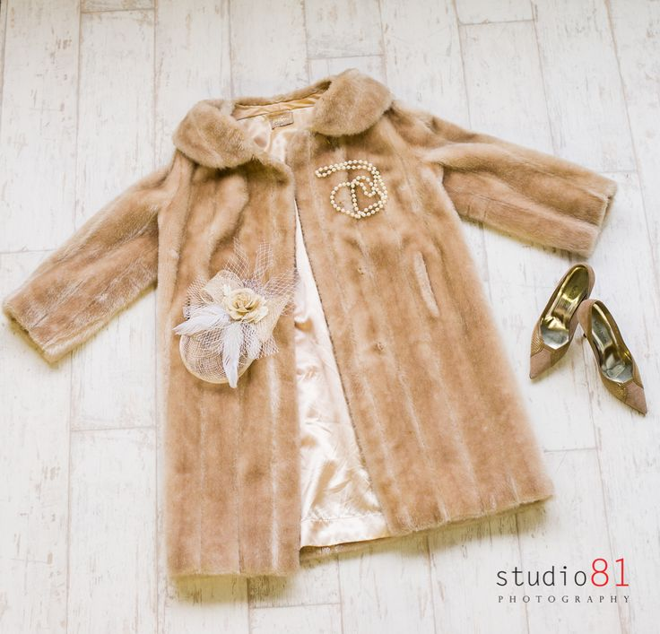 Tan Fur Coat, Pearl Necklace, Neutral Netted Fascinator, Brown/Gold Heels (Size 6)