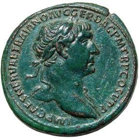 Wonderful patinated emperor Trajan roman sestertius.