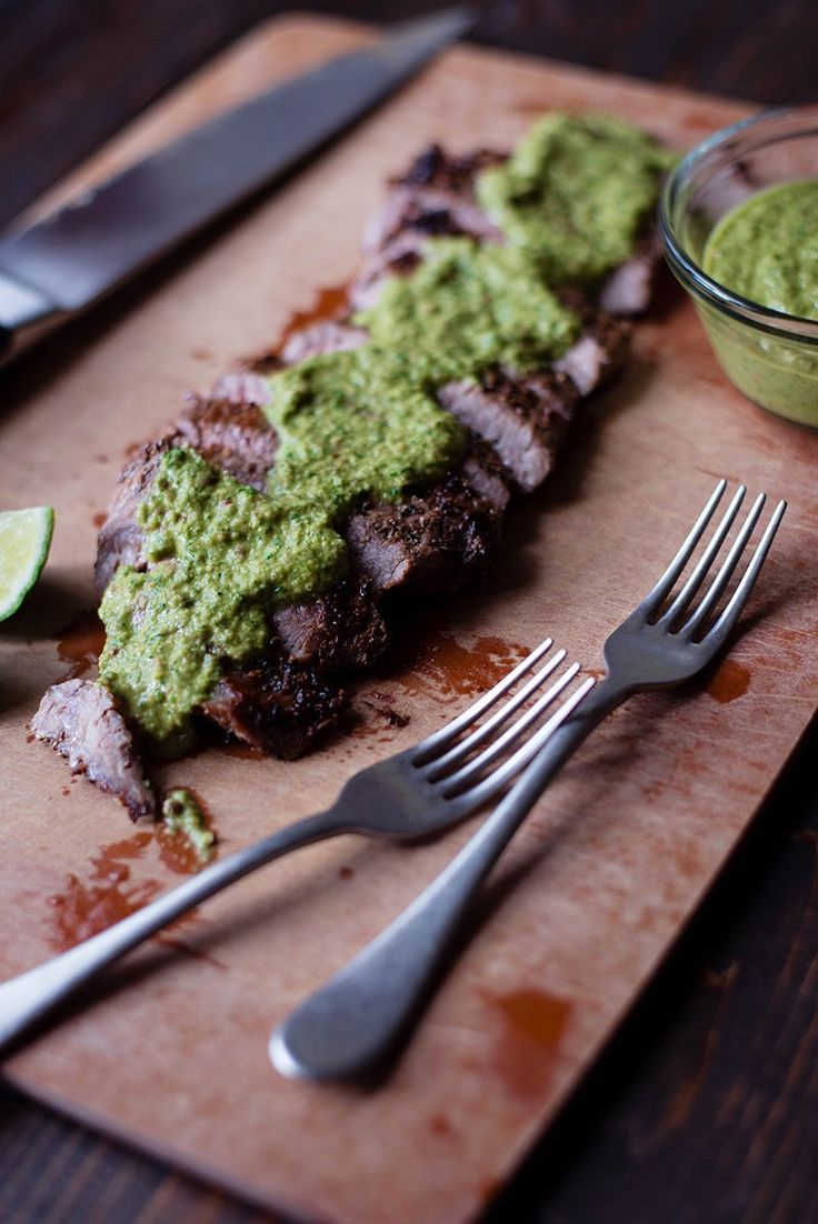 This is an easy Flank Steak With Chimichurri Sauce that is healthy, fast, and super tasty!