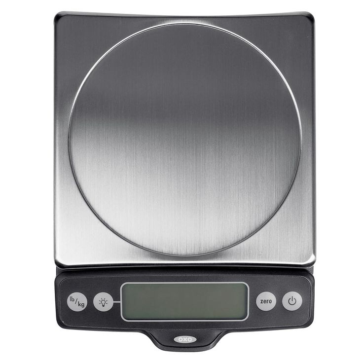 Oxo Food Scale with Pull-Out Display: 11-pound capacity, durable, easy to read. My only complaint is that it automatically turns off more often than I'd like.