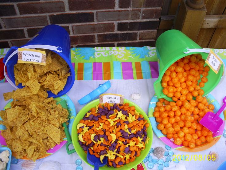 pool party food= Doritos, gold fish, cheese puffs
