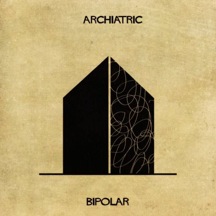 Italian illustrator federico babina has created a creative project in which he explains mental illnesses and disorders through architectural illustrations