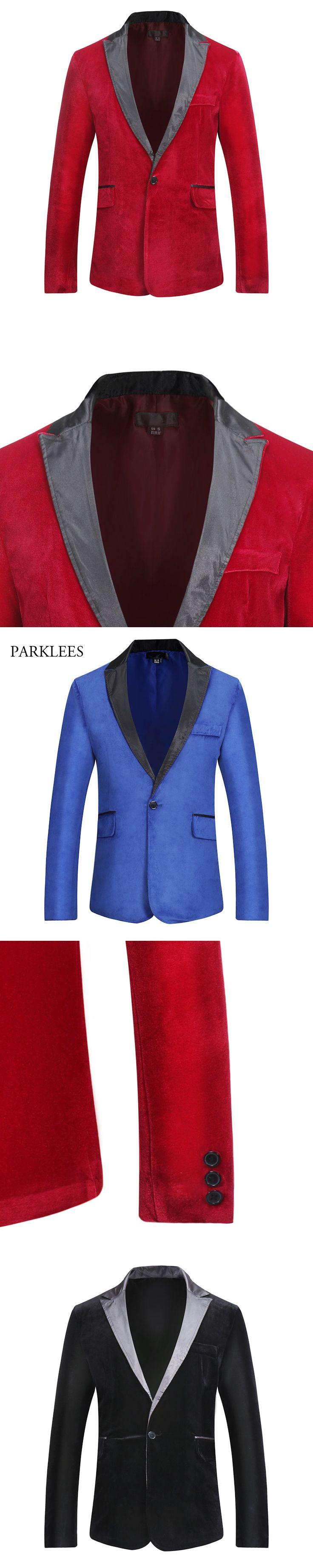 Royal Blue Velvet Blazer Men 2017 Patchwork Collar Single Breasted Mens Blazer Casual Slim Fit Party Suit Jacket Costume Homme
