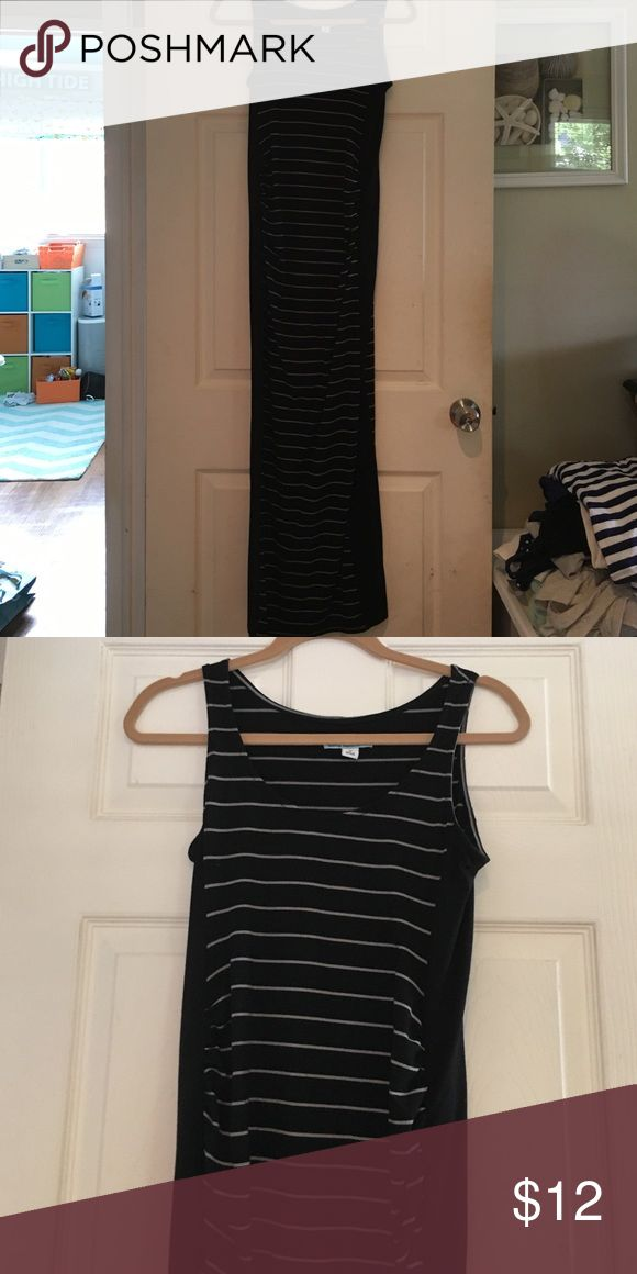 Old Navy Maternity Dress Black long dress, racerback maxi dress with gray/tan stripes.  Worn a few times during pregnancy Old Navy Dresses