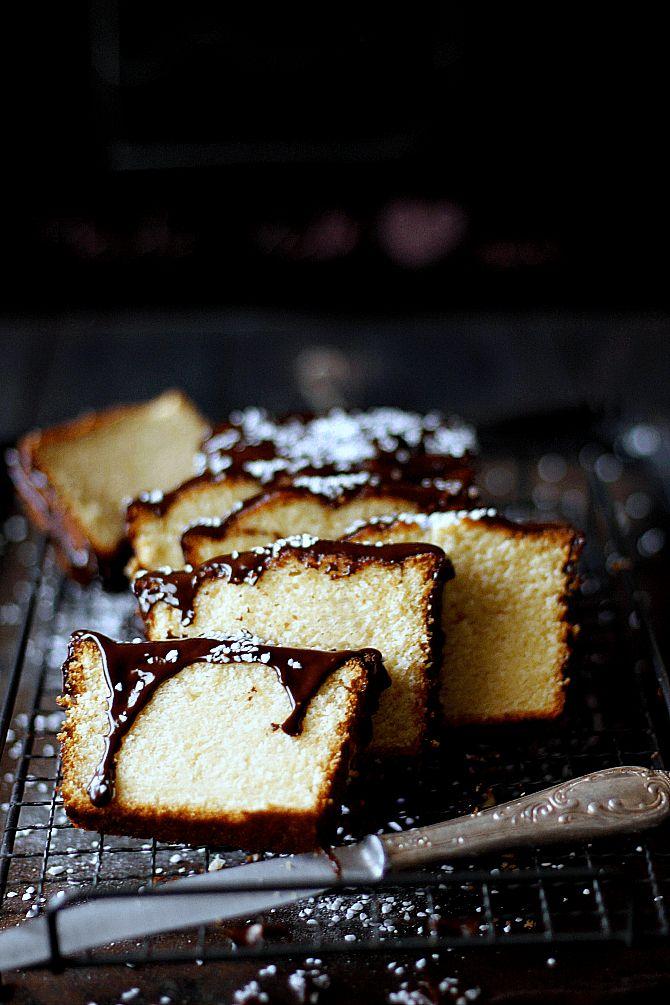Sour cream cake with chocolate syrup glaze