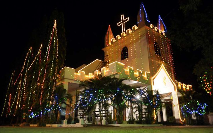 A church in Indore, India is illuminated with holiday lights. Christmas is celebrated with fanfare a... - Getty