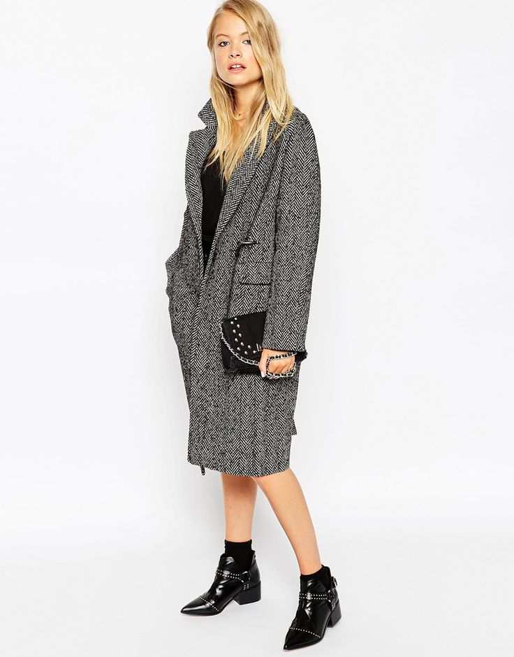 ASOS+Coat+in+Herringbone+with+Clasp+Fasten