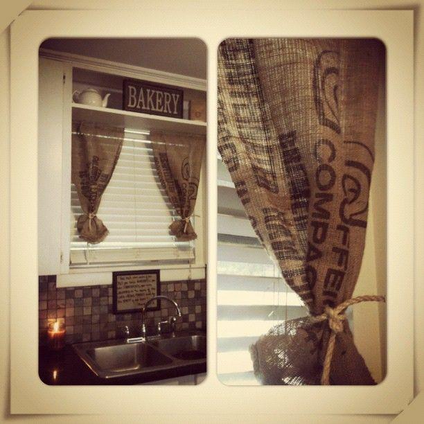 Curtains Ideas burlap sack curtains : 1000+ ideas about Burlap Coffee Bags on Pinterest | Coffee sacks ...