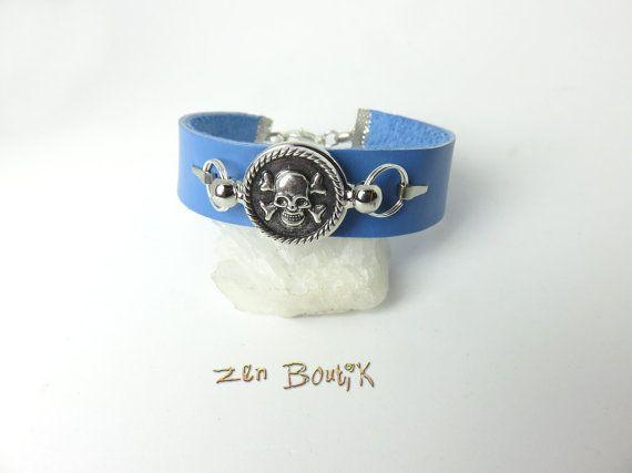 Bracelet Mixte Cuir Bleu, Bouton Pression Chunk Pirate Tête de Mort Crâne Skull Amovible Interchangeable, Bracelet Unisexe Cuir, Cadeau Mode