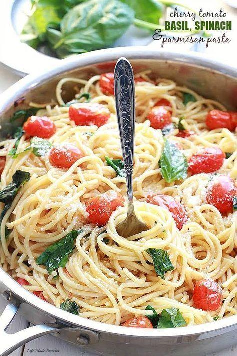 Nudeln mit Kirschtomaten, Basilikum, Spinat und Parmesan – Abendessen #pasta #pasta rez …