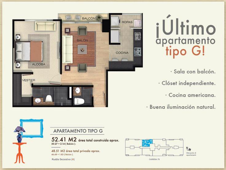 Nuestro último apartamento de 52 mts2 puede ser tuyo. www.proyectomosaico.com