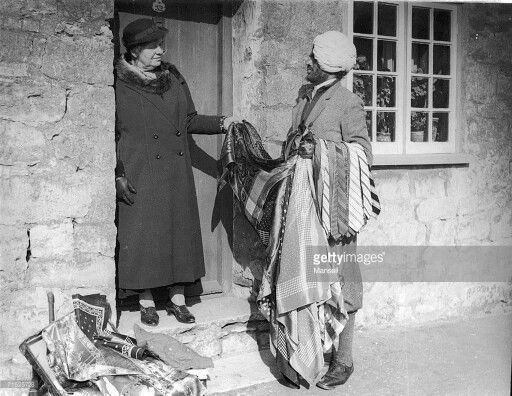 1930. Mr Singh trying to sell silk scarfs to British housewives...