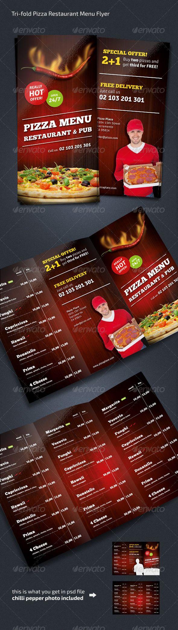 Pizza Restaurant Menu Flyer (Trifold) - Restaurant Flyers