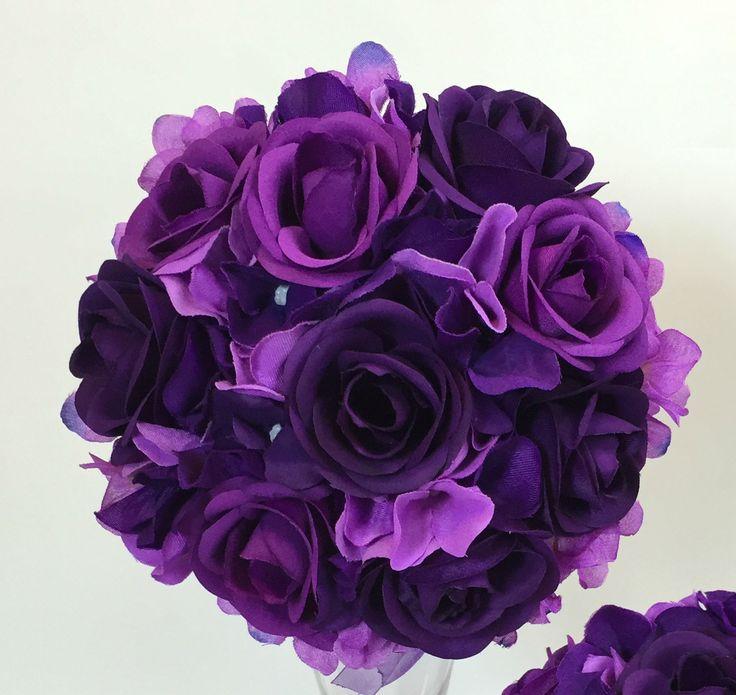 Silk Flower D Purple Rose Flowers Wedding Bridal Bouquet | eBay