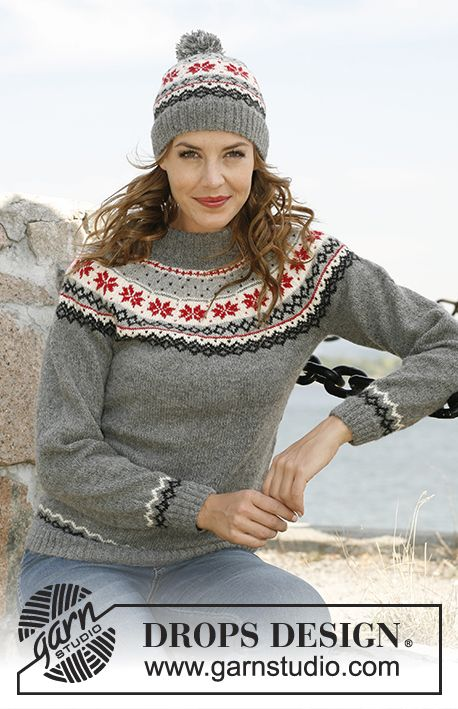 "Knitted DROPS hat and jumper with Norwegian pattern in ""Alpaca"".  Size: S - XXXL.  Free pattern by DROPS Design."