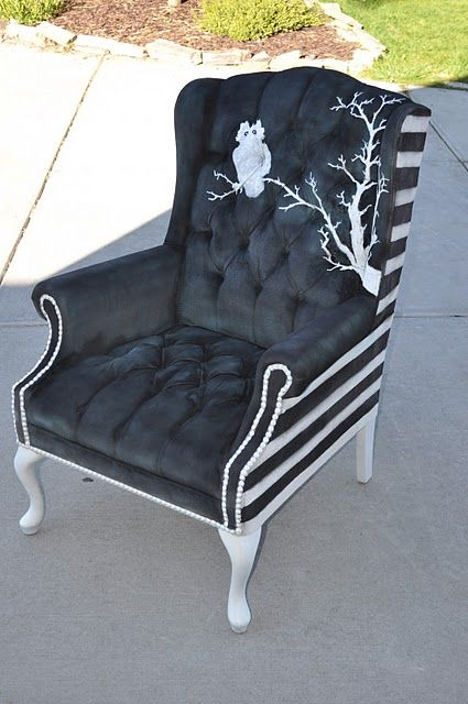 DIY Chair. Looks like something out of Beetlejuice or the Addams Family