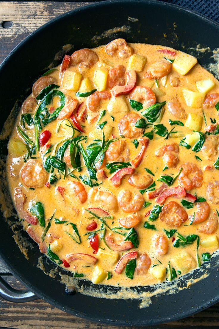 Camarones al curry con leche de coco y espinacas   – Wok