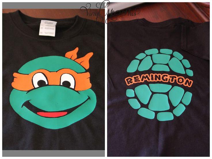 "heat transfer vinyl "" ninja turtle face and shell"" shirt"
