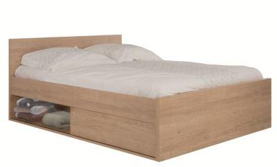 Mobilier - La Chambre Adulte - Lits - Lit rangement 140x190 cm CALVI imitation chataigner