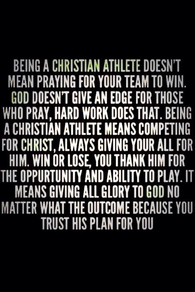 Being a Christian athlete means
