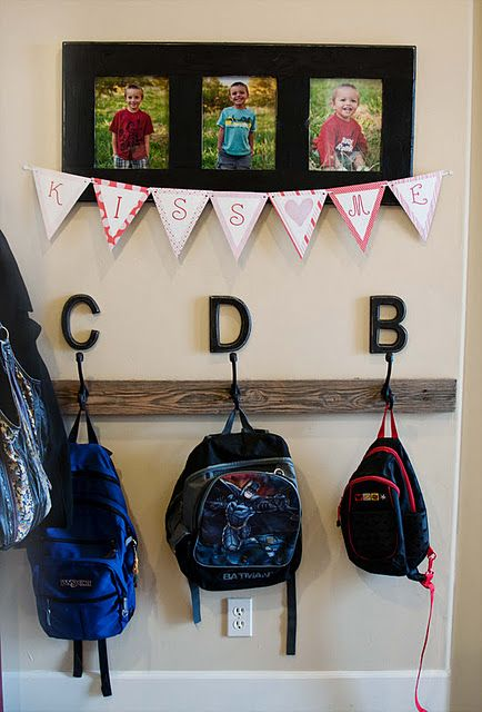 Love this idea for a coat/backpack hooks with your child's initial